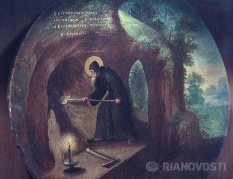 Антоний Великий копает пещеру