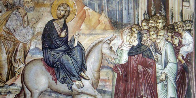 Вход Господень во Иерусалим. Фреска ватопетского монастыря.